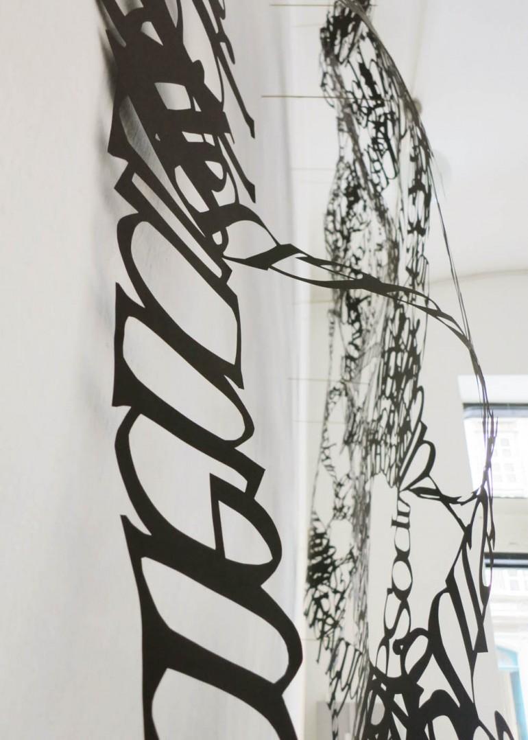 Detail Ausstellungsansicht Galerie Druck und Buch, Wien